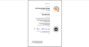პროკრედიტ ბანკი - ISO სერტიფიკატის პირველი მფლობელი ქართულ საბანკო სივრცეში